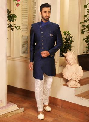 Reception Wear Navy Blue Jacquard Sherwani Style