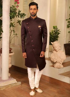 Reception Wear Wine Jacqaurd Work Sherwani Style Suit