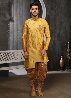 Latest Yellow Jacqaurd Wedding Wear Weaving Indowestern