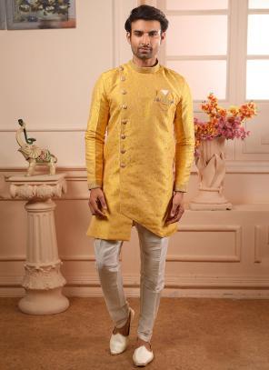 Jacqaurd Yellow Wedding Wear Weaving Indowestern