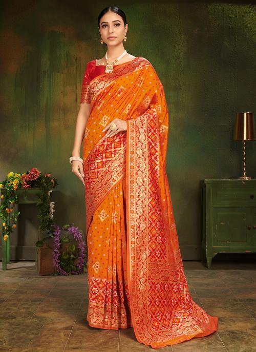 Wedding Wear Orange Silk Weaving Saree