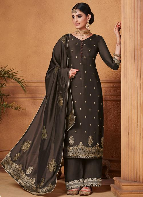 Jacquard Brown Party Wear Silk Palazzo Suit