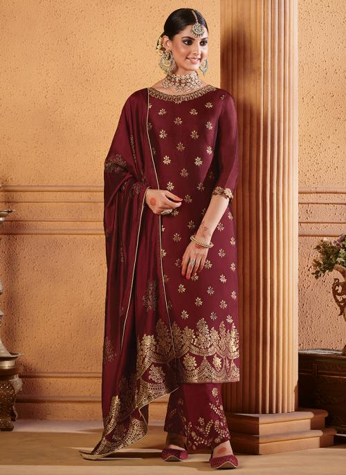 Jacquard Maroon Party Wear Silk Palazzo Suit