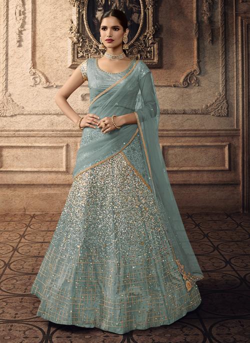 Net Sky Blue Sequins Work Bridal Wear Lehenga Choli