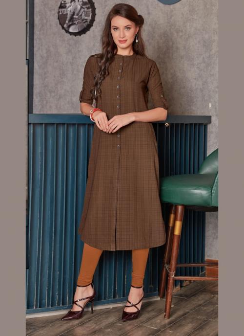 Office Wear Brown Rayon Printed Work Kurti 135946