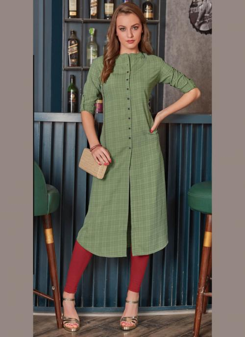 Office Wear Green Rayon Printed Work Kurti 135943