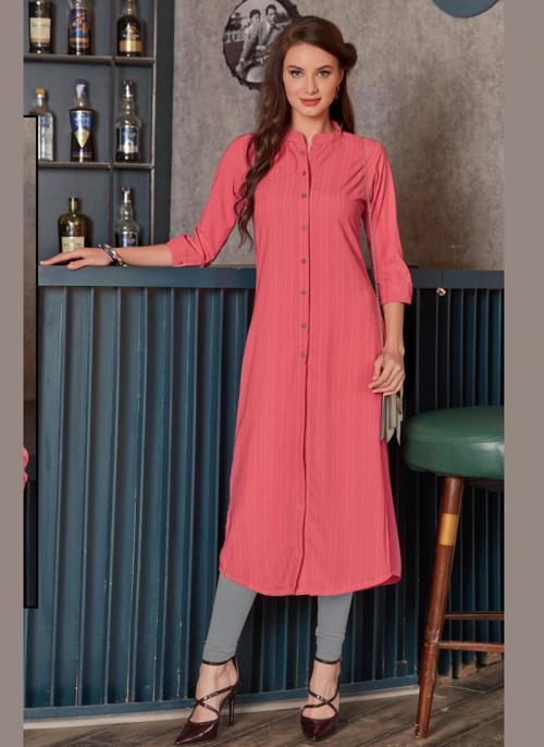 Office Wear Pink Rayon Printed Work Kurti 135949 Online