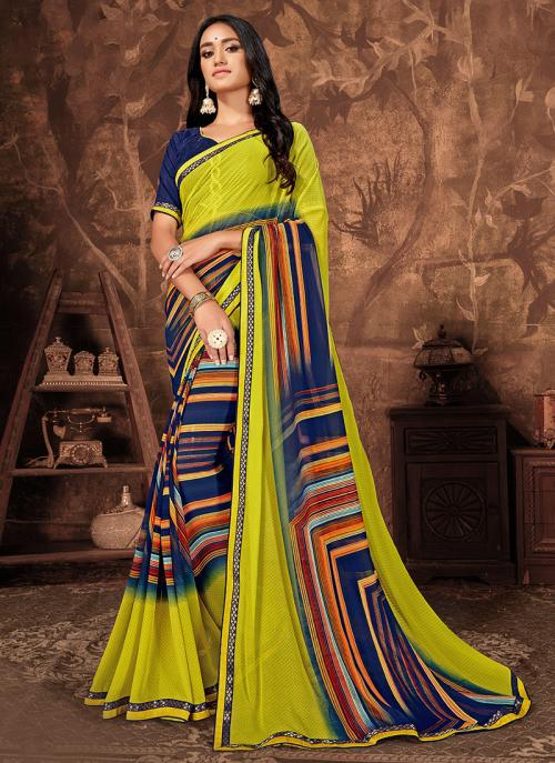 Daily Wear Yellow Georgette Printed Work Saree