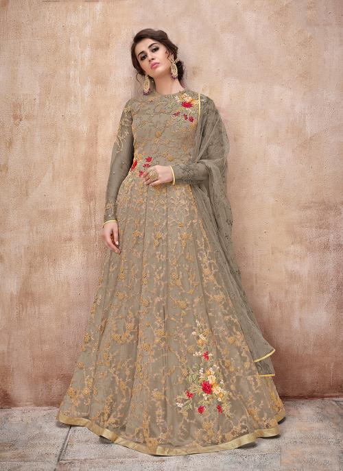 Grey Net Reception Wear Embroidery Work Anarkali Suit