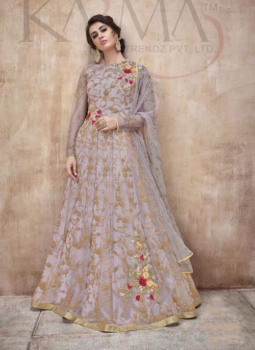 Purple Net Reception Wear Embroidery Work Anarkali Suit