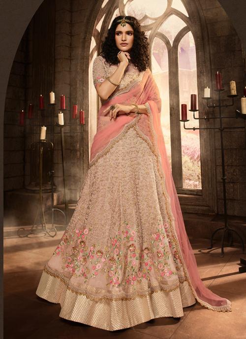 Pink Net Reception Wear Embroidery Work Lehenga Choli