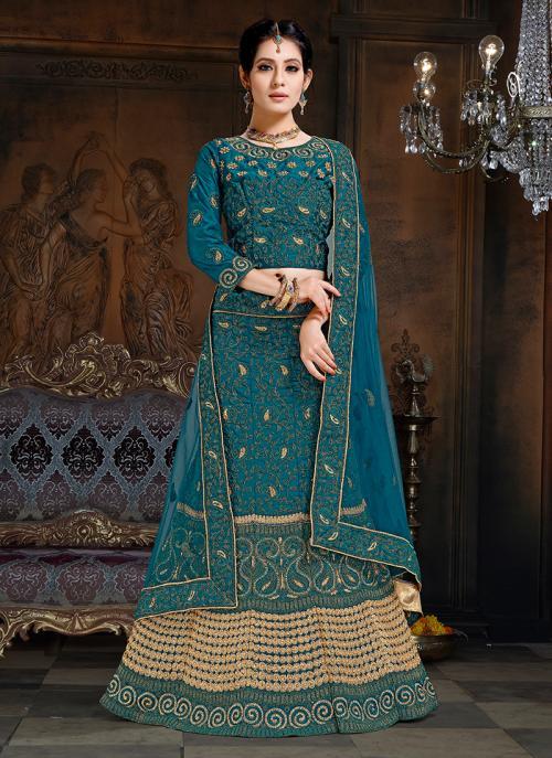 Blue Net Wedding Wear Embroidery Work Lehenga Choli