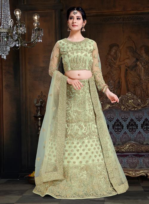 Green Net Wedding Wear Embroidery Work Lehenga Choli