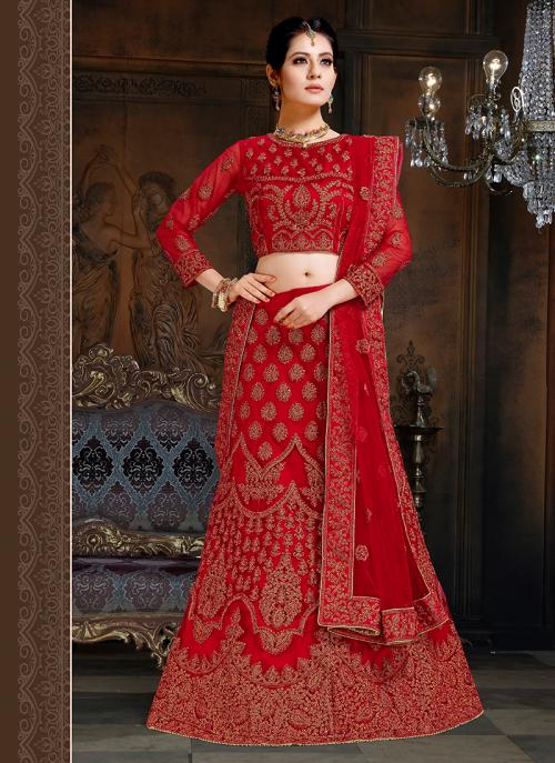 Red Net Wedding Wear Embroidery Work Lehenga Choli
