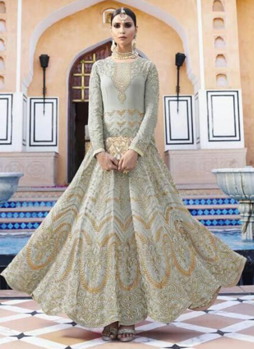 Grey Georgette Wedding Wear Embroidery Work Anarkali Suit