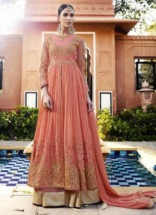Pink Georgette Wedding Wear Embroidery Work Anarkali Suit