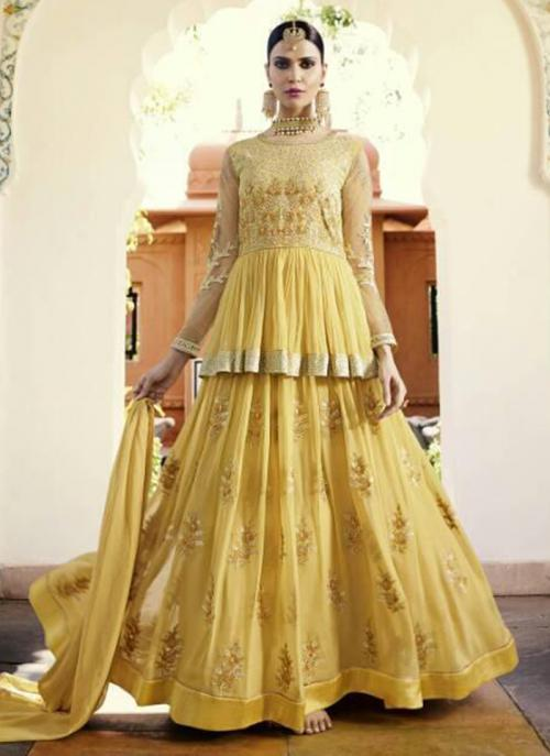Yellow Georgette Wedding Wear Embroidery Work Anarkali Suit