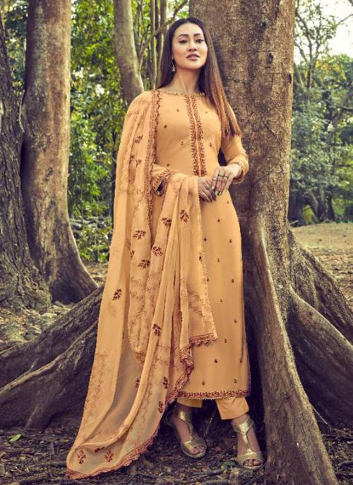 Embroidery Work Beige Cotton Silk Casual Wear Straight Suit