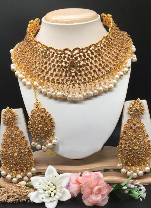 Buy Modern Gold Plated Bridal Diamond Necklace Set Online Collection Online From Wholesale Salwar