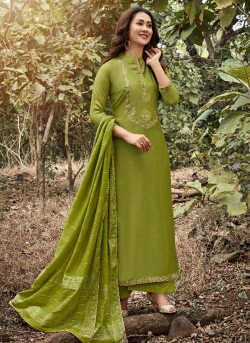 Green Muslin Traditional Wear Embroidery Work Straight Suit