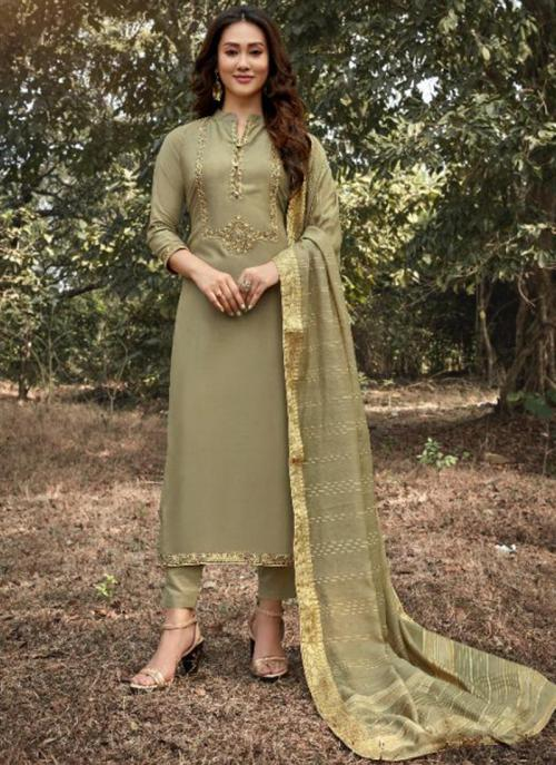 Olive Green Muslin Traditional Wear Embroidery Work Straight Suit
