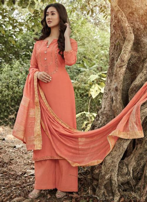 Peach Muslin Traditional Wear Embroidery Work Straight Suit