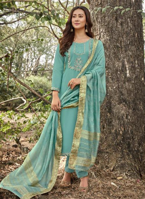 Sky Blue Muslin Traditional Wear Embroidery Work Straight Suit