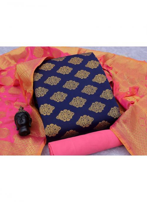 Navy Blue And Pink Banarasi Silk Casual Wear Weaving Salwar Suit