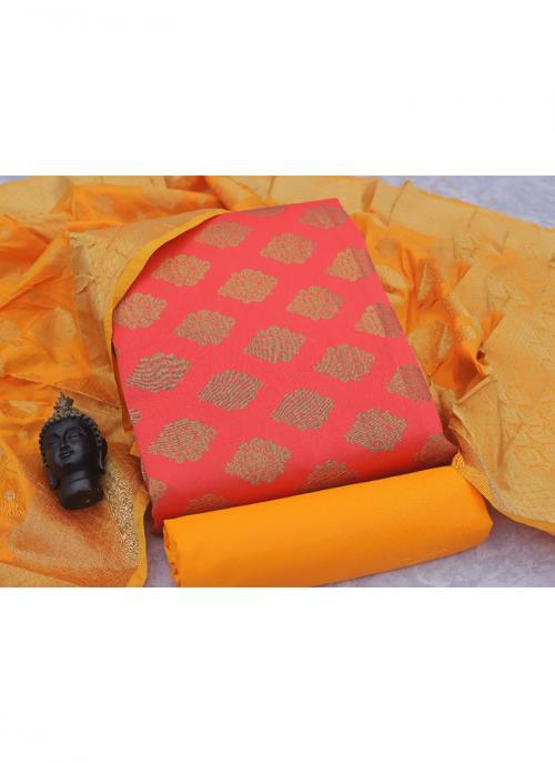 Pink Banarasi Silk Casual Wear Weaving Salwar Suit