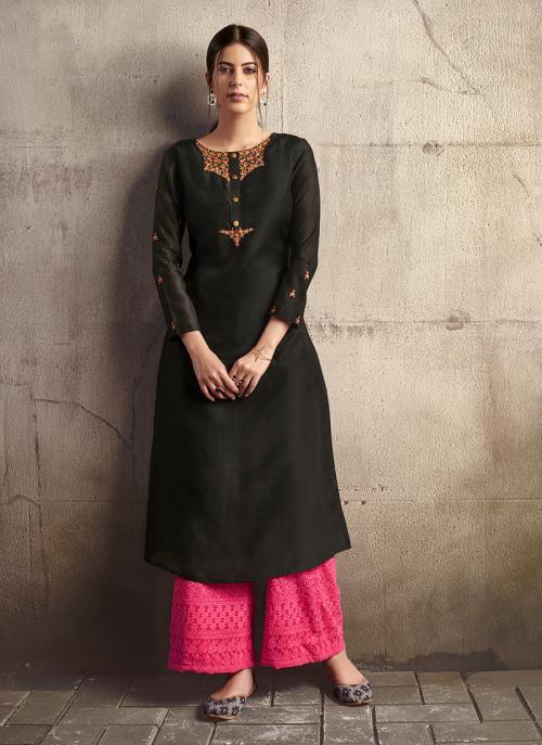 Black Silk Party Wear Embroidery Work Kurti With Palazzo