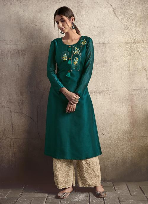 Green Silk Party Wear Embroidery Work Kurti With Palazzo