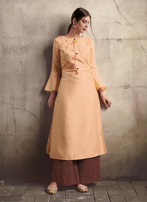 Peach Silk Party Wear Embroidery Work Kurti With Palazzo