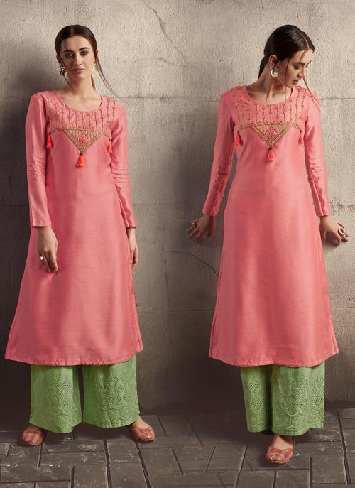 Pink Silk Party Wear Embroidery Work Kurti With Palazzo