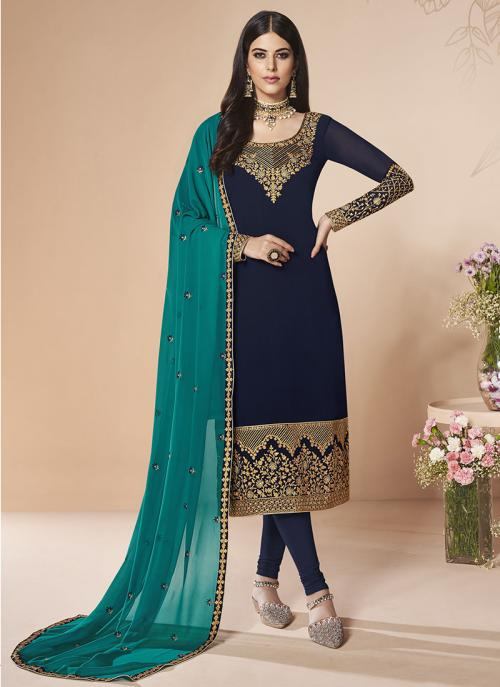 Party Wear Navy Blue Faux Georgette Embroidery Work Churidar Suit