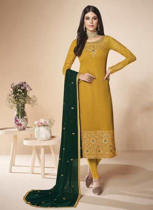 Party Wear Yellow Faux Georgette Embroidery Work Churidar Suit