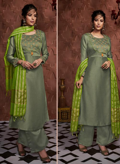 Green Silk Casual Wear Embroidery Work Readymade Palazzo Suit