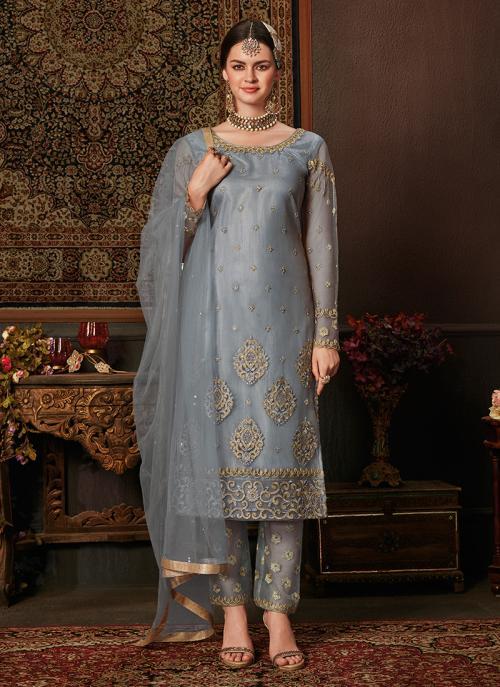 Grey Net Traditional Wear Embroidery Work Salwar Suit