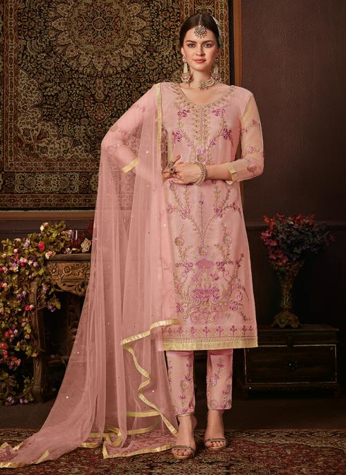 Pink Net Traditional Wear Embroidery Work Salwar Suit