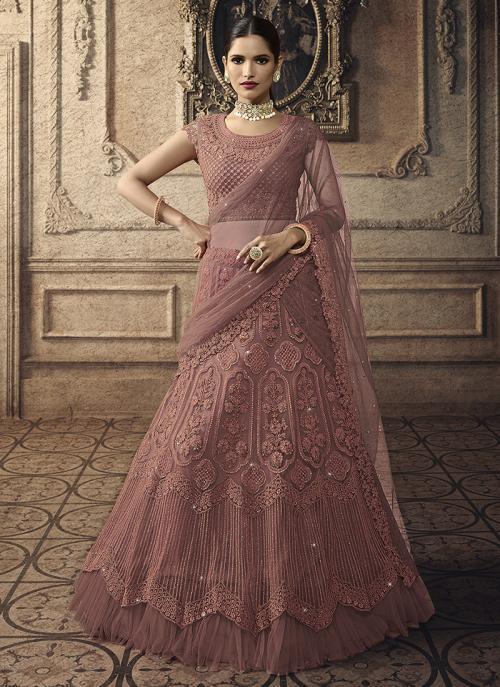 Rose Gold Net Bridal Wear Embroidery Work Lehenga Choli