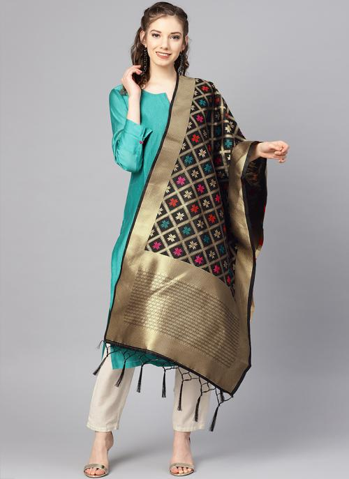 Black Banarasi Silk Zari Work Traditional Wear Dupatta