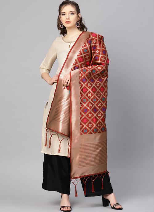 Maroon Banarasi Silk Zari Work Traditional Wear Dupatta