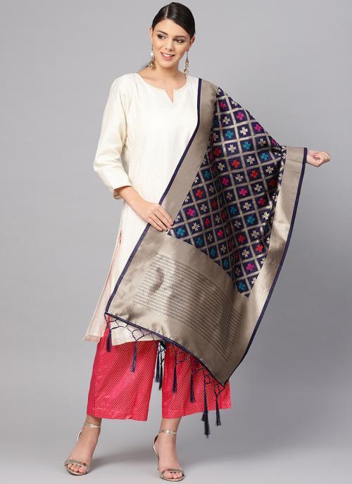 Buy Navy Blue Banarasi Silk Traditional Wear Zari Work Dupatta
