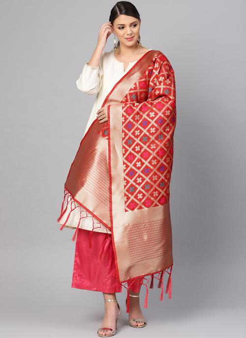 Banarasi Silk Red Traditional Wear Zari Work Dupatta