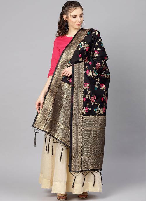 Black Zari Work Banarasi Silk Traditional Wear Dupatta