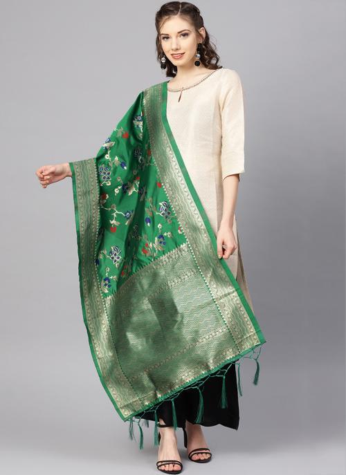 Dark Green New Banarasi Silk Traditional Wear Zari Work Dupatta