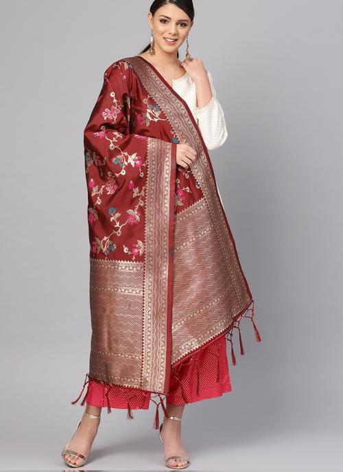 Banarasi Silk Maroon Traditional Wear Zari Work Dupatta
