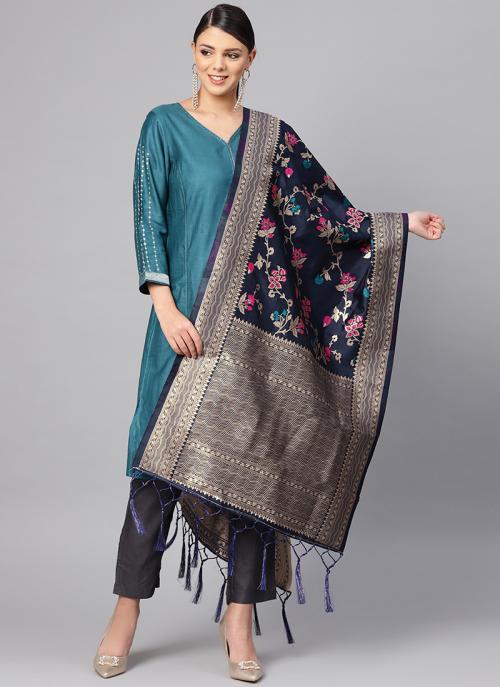 Zari Work Navy Blue Banarasi Silk Traditional Wear Dupatta