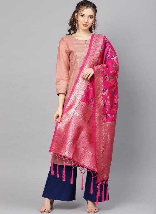 Rani Traditional Wear Banarasi Silk Zari Work Dupatta