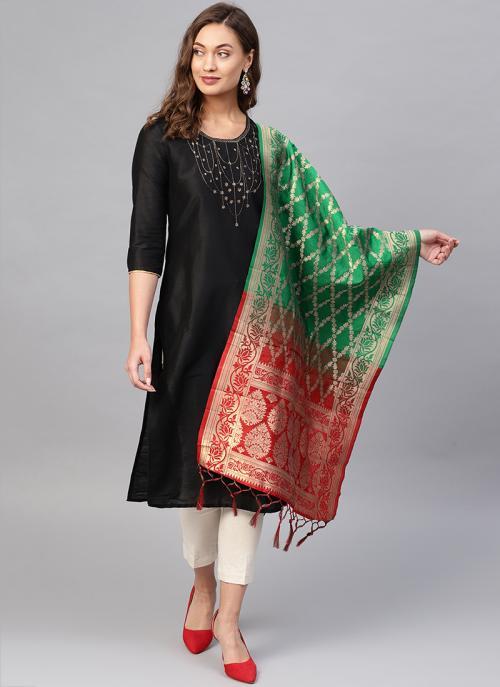 Green And Red Banarasi Silk Party Wear Zari Work Dupatta