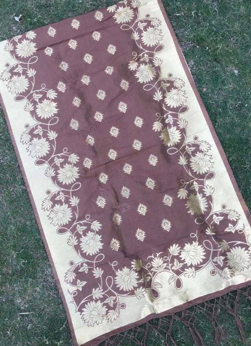 Silk Brown Festival Wear Zari Work Dupatta